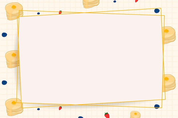 Cadre de papier de vecteur sur fond de motif alimentaire