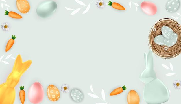 Cadre de pâques avec lapin oeufs de pâques et carotte