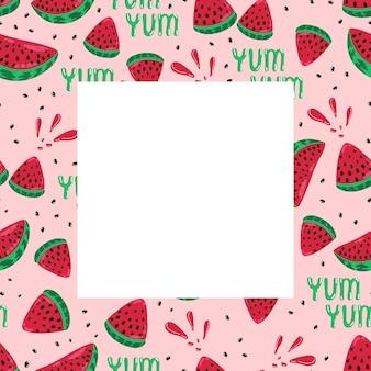 Cadre de pastèque tranches de pastèque mûres juteuses, motif vectoriel sans couture, imprimés avec des fruits d'été