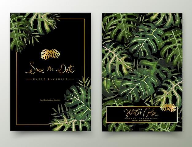 Cadre De Peinture Aquarelle Feuilles De Palmier. Vecteur Premium