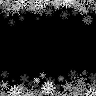 Cadre avec petits flocons de neige en couches