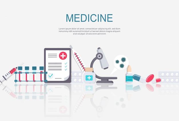 Cadre de pharmacie avec des pilules, des médicaments, des bouteilles médicales. illustration plate de pharmacie. bannière de médecine et de soins de santé, fond d'affiche avec espace de copie.