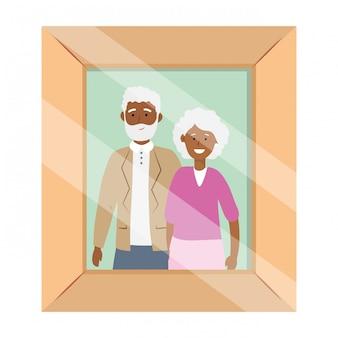 Cadre de photo avatar couple de personnes âgées