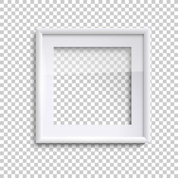 Cadre photo blanc blanc avec verre, cadre photo vide carré