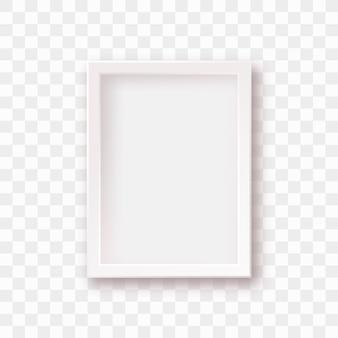 Cadre photo blanc isolé avec une ombre réaliste