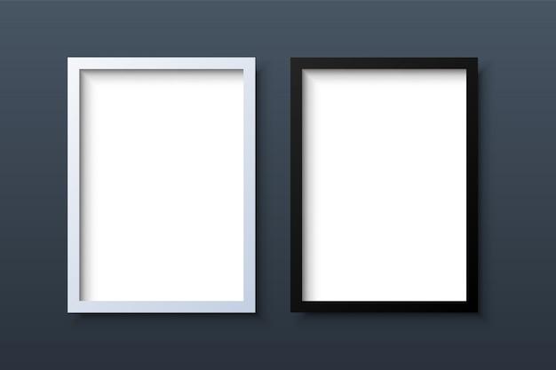 Cadre photo blanc réaliste noir et blanc vertical