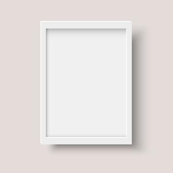Cadre photo blanc vertical réaliste