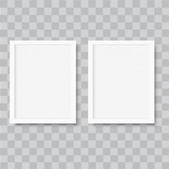 Cadre de photo blanc vertical réaliste