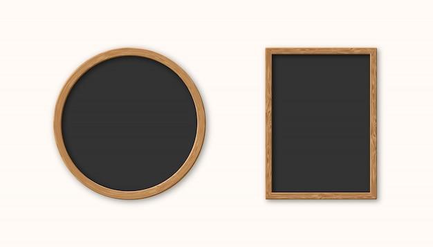 Cadre photo en bois ensemble réaliste isolé