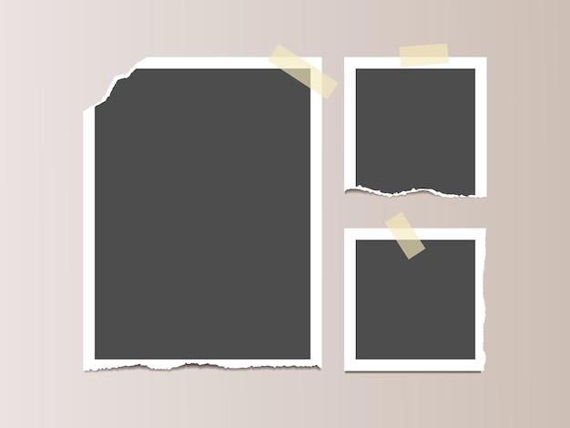 Cadre photo avec bords déchirés sur ruban adhésif