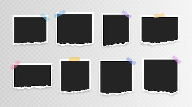 Cadre photo . cadre photo super set avec du papier déchiré sur du ruban adhésif sur fond transparent. illustration vectorielle.