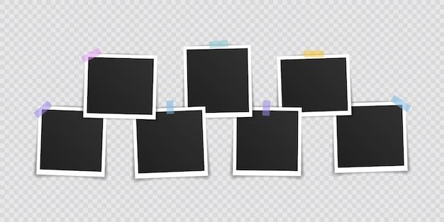 Cadre photo . cadre photo super set sur du ruban adhésif sur fond transparent. illustration vectorielle.