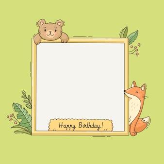 Cadre photo de dessin animé avec ours et renard pour anniversaire