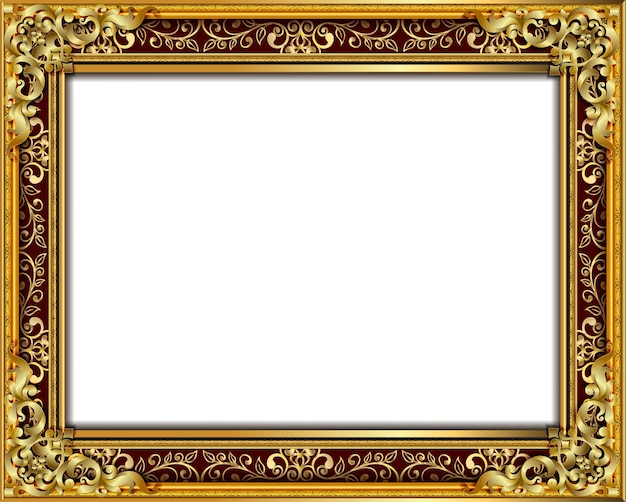 Cadre photo doré avec bordure de bordure florale