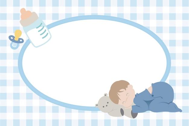 Cadre photo enfants avec bébé garçon endormi
