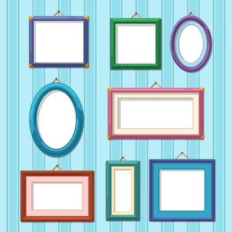 Cadre photo fixé sur le mur. illustration de cadres photo plats
