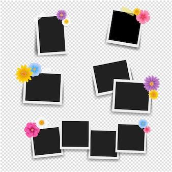 Cadre photo avec des fleurs grand ensemble avec un fond transparent