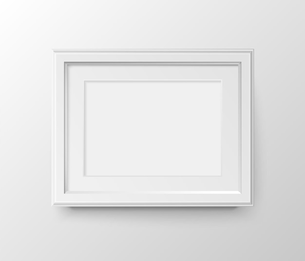Cadre photo horizontal vierge a3 et a4 avec passe-partout pour photographies. papier réaliste de vecteur ou blanc en plastique mat avec l'ombre