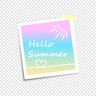 Cadre photo, imitation photo polaroid. bonjour l'été