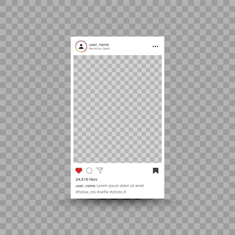 Cadre photo inspiré du modèle d'interface de publication instagram médias sociaux design ui moderne photo vectorielle...