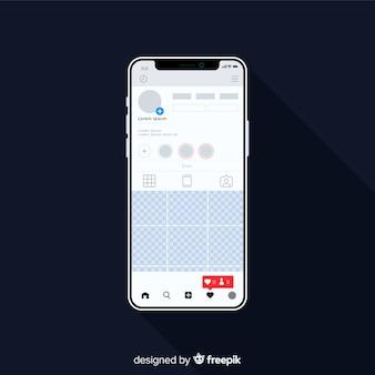 Cadre photo instagram réaliste sur un modèle d'iphone