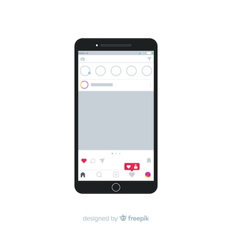 Cadre photo instagram réaliste sur modèle smartphone