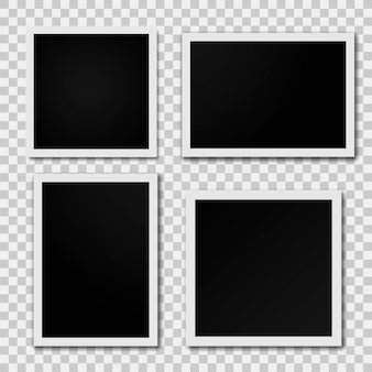 Cadre photo isolé sur fond transparent. cadre photo rétro réaliste placé. illustration vectorielle.