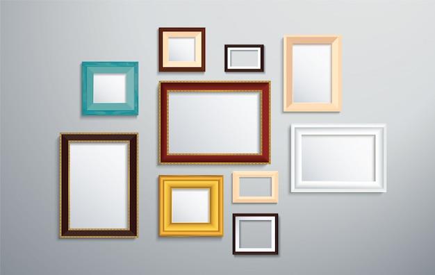 Cadre photo isolé sur le mur