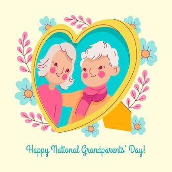 Cadre photo de la journée nationale des grands-parents dessinés à la main