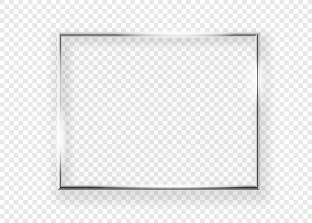 Cadre photo en métal brillant réaliste sur un mur. illustration vectorielle cadre horizontal isolé sur fond transparent