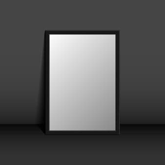 Cadre photo sur un mur noir design de fond 3d pour votre contenu