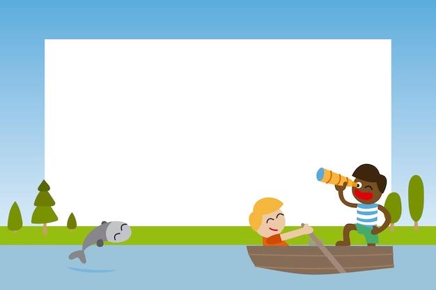 Cadre photo pour les enfants avec des amis naviguant dans un bateau