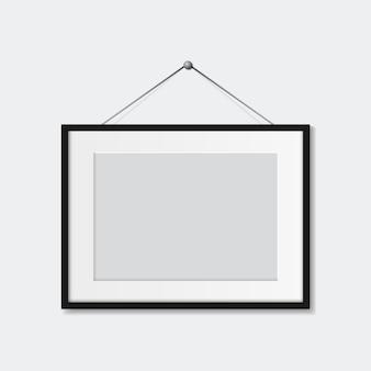 Cadre photo réaliste isolé modèle vectoriel pour photo maquette de cadre photo blanc vierge