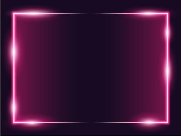 Cadre photo rectangle carré avec néon rose deux tons