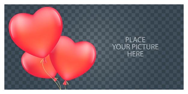 Cadre photo romantique avec des ballons en forme de coeur.
