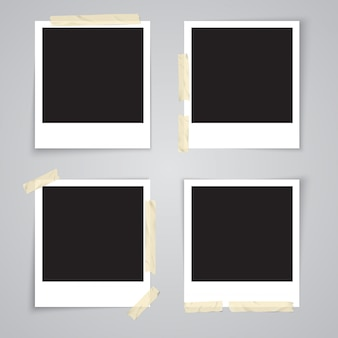 Cadre photo avec ruban adhésif et ombre isolée illustration vectorielle réaliste