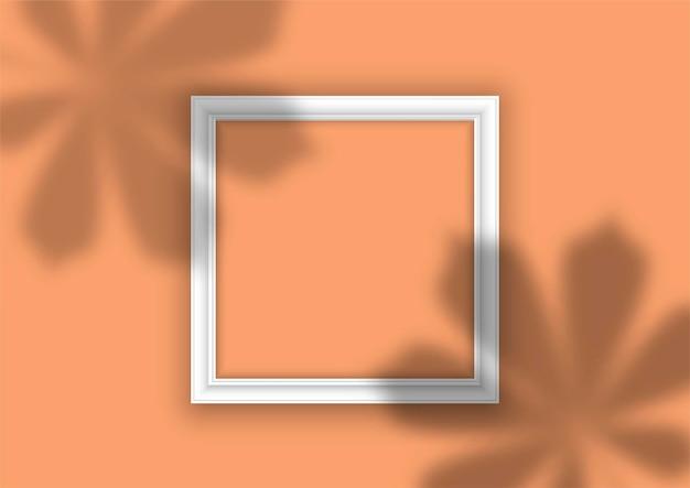 Cadre photo avec superposition d'ombre de feuilles de plantes
