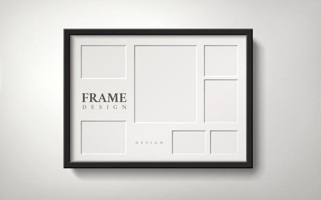 Cadre photo vide avec plusieurs espaces pour placer des photos, style réaliste d'illustration 3d