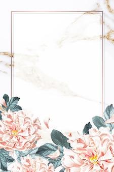 Cadre de pivoine floral doré