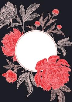 Cadre de pivoines florales de mariage