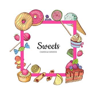 Cadre avec la place pour le texte dessiné à la main des bonbons autour