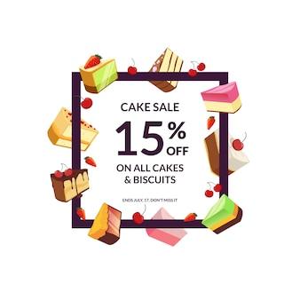 Cadre avec place pour la vente de morceaux de gâteau de texte et de dessin animé