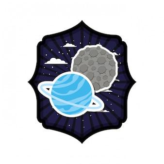 Cadre avec la planète du système solaire