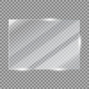 Cadre de plaque de verre verre à vitre brillant avec reflets isolés sur une surface transparente