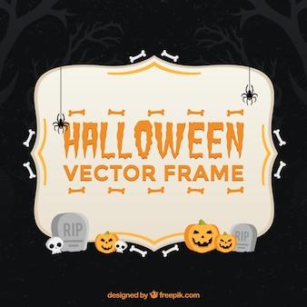Un cadre plat de halloween avec un style effrayant