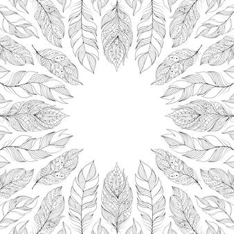 Cadre avec des plumes abstraites