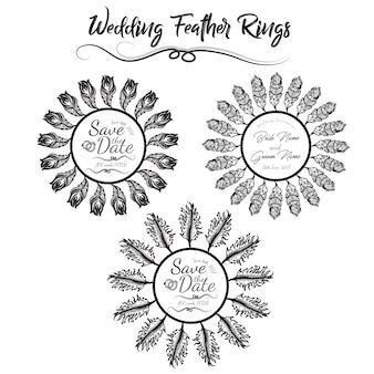 Cadre à plumes d'invitation à mariage dessinée à la main