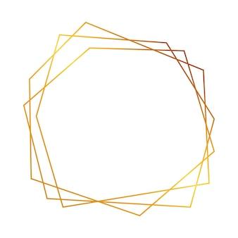 Cadre polygonal géométrique doré avec effets brillants isolés sur fond blanc. toile de fond art déco rougeoyante vide. illustration vectorielle.