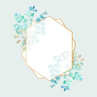 Cadre polygonale élégant à l'aquarelle