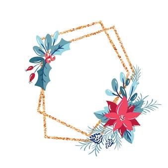 Cadre de polygone géométrique avec couronne de bouquet. modèle de noël